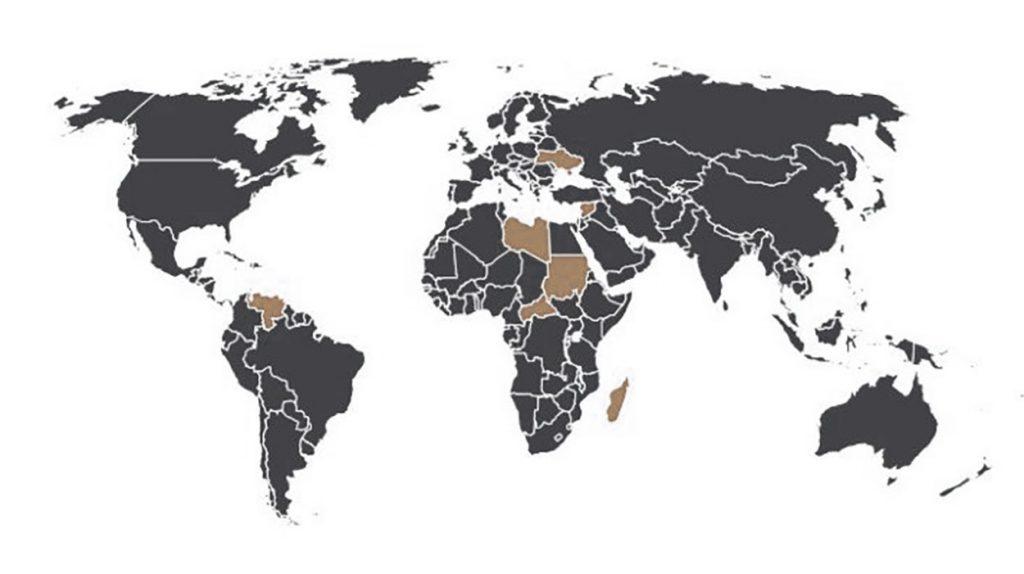 Rus özel askeri şirketlerinin aktif olduğu ülkeler