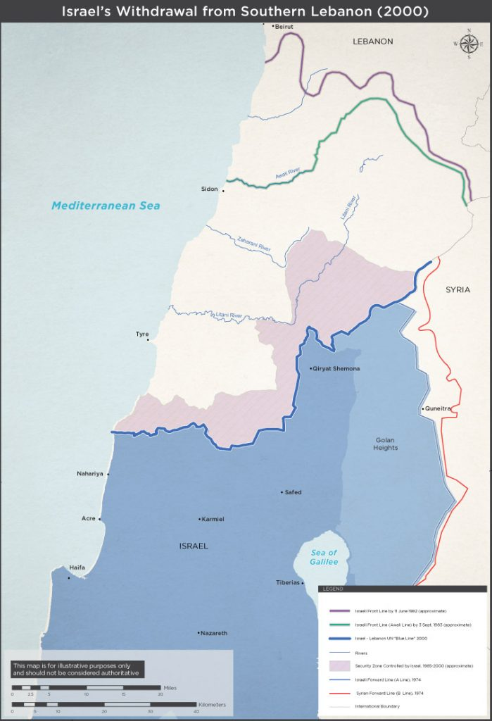 Israel MFA's official map of the buffer zone in south Lebanon